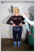 Modesty takes a soaking, from dry, in blue denim! featuring Modesty, the wild child