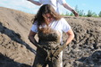 view details of set gm-2m57, Rosemary and earia wear pristine white jeans in the mud