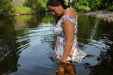 view details of set gm-2w142, Maria explores the estate's river in a lovely white dress