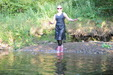 view details of set gm-2w173, Felicity takes a full submersion dip in a grey denim dress and tights