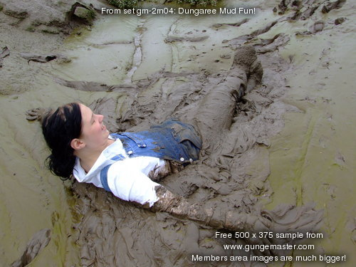 Girl sliding back on the green slime - 1 8